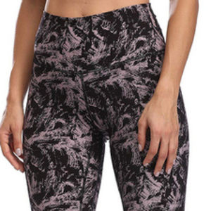 High Waisted Full-Length Yoga Pants - Mauve Black